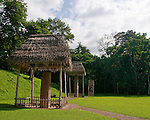 Quirigua, in Guatemala, is one of the smaller Mayan sites, but also one of the most notable due to the artistry of its stelae, which Mayan rulers during the Classic Period commissioned to commemorate important political and dynastic events. Nowadays, the temples and palaces lie in ruins around the pleasant green park that once was the great plaza of Quirigua and archaeologists are only now piecing them back together.  Quirigua features a total of 22 carved stelae and zoomorphs (large boulders carved to represent animals and covered with figures and glyphs), which are among the finest examples of classic Mayan stone carvings.