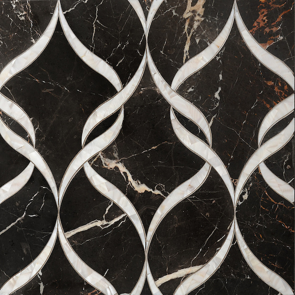 Sophie, a waterjet stone mosaic, shown in Shell and honed Saint Laurent, is part of the Aurora™ Collection by Sara Baldwin for New Ravenna.