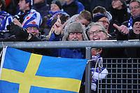 VOETBAL: HEERENVEEN: Abe Lenstra Stadion, 07-02-2015, Eredivisie, sc Heerenveen - PEC Zwolle, Eindstand: 4-0, supporters, Zweedse vlag, ©foto Martin de Jong