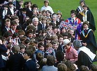 Princess Anne on a May 1985 visit to N Ireland mingles with academic staff and pupils at the official opening of an extension to Belfast Royal Academy's Preparatory Department at its Ben Madigan campus. 19850501f..Copyright Image from Victor Patterson, 54 Dorchester Park, Belfast, UK, BT9 6RJ..Tel: +44 28 9066 1296.Mob: +44 7802 353836.Voicemail +44 20 8816 7153.Skype: victorpattersonbelfast.Email: victorpatterson@me.com.Email: victorpatterson@ireland.com (back-up)..IMPORTANT: If you wish to use this image or any other of my images please go to www.victorpatterson.com and click on the Terms & Conditions. Then contact me by email or phone with the reference number(s) of the image(s) concerned.