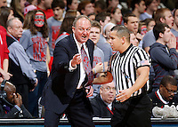 Ohio State Buckeyes head coach Thad Matta argues with an official in the second half of the college basketball game between the Ohio State Buckeyes and the Ohio Bobcats at Value City Arena in Columbus, Tuesday evening, November 12, 2013. The Ohio State Buckeyes defeated the Ohio Bobcats 79 - 69. This was the first meeting of the teams in 19 years and the first ever game between them at Value City Arena. (The Columbus Dispatch / Eamon Queeney)