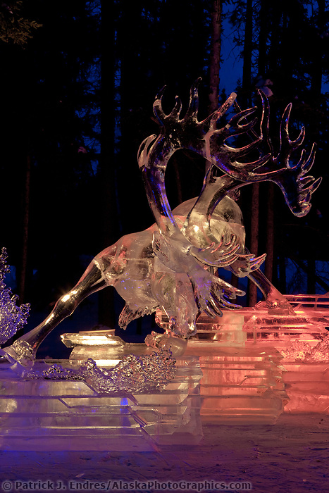 Multi block sculpture titled &quot;White Fang&quot;, 2009 World Ice Art Championships in Fairbanks, Alaska. Team members: Junichi Nakamura, Shinichi Sawamura, Fukumi Furukawa, Takao Waki. 1st place in the realistic category.