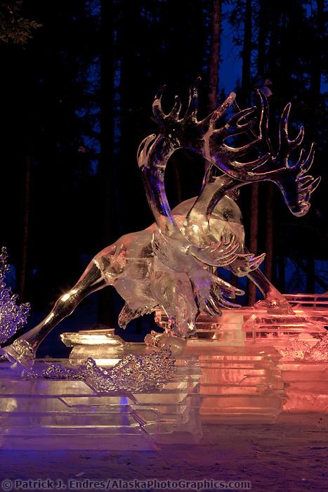 "Multi block sculpture titled ""White Fang"", 2009 World Ice Art Championships in Fairbanks, Alaska. Team members: Junichi Nakamura, Shinichi Sawamura, Fukumi Furukawa, Takao Waki. 1st place in the realistic category."