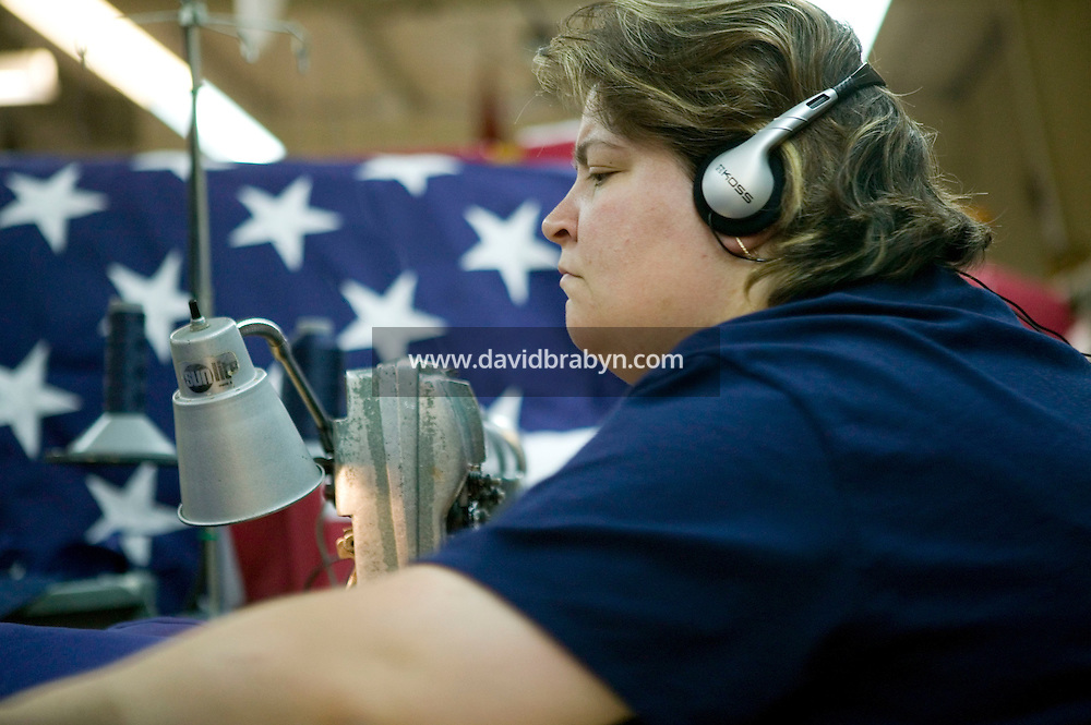 21 June 2005 - Oaks, PA - Karen Hipple works on fields - the starred part of an American flag - at the Annin & Co. flag manufacturing plant in Oaks, PA. Photo Credit: David Brabyn.