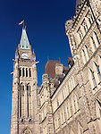 The Parliament Building Peace Towe in Ottawa, Ontario, Canada.