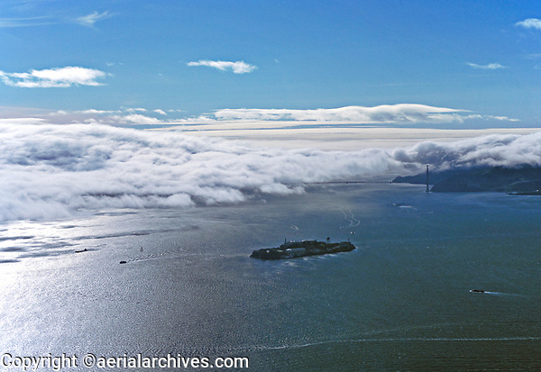 aerial photograph Alctraz Island San Francisco Bay fog at Golden Gate & part of the Marin headlands