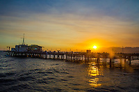 Santa Monica Pier amid the sunset on Thursday, July 18, 2013.