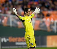 Michael Gspurning (1) of the Seattle Sounders yells to his teammates during the game at RFK Stadium in Washington DC.   D.C. United tied  the Seattle Sounders, 0-0.