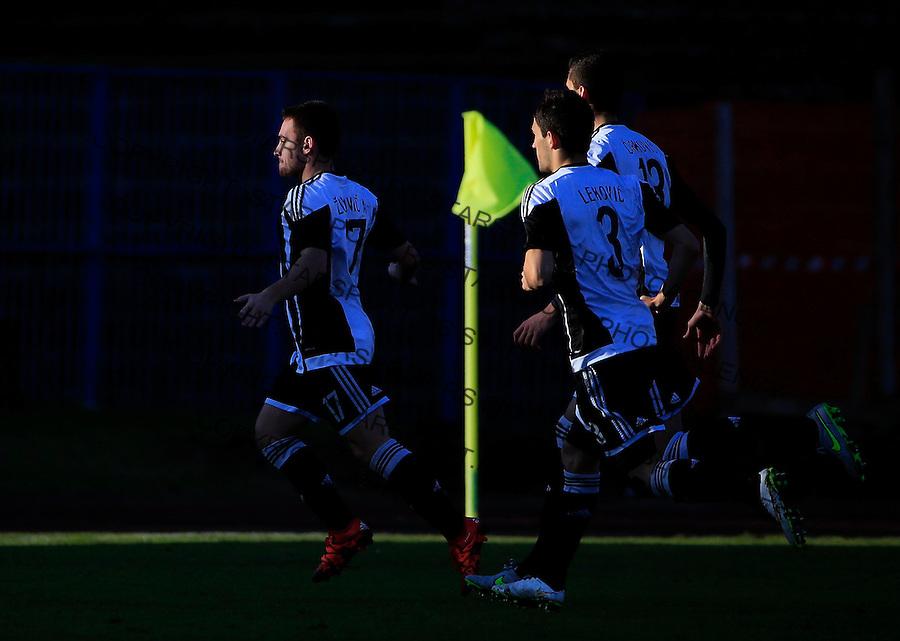 Fudbal Jelen Super League season 2015-2016<br /> Spartak v Partizan<br /> Andrija Zivkovic (L) celebrates the goal<br /> Subotica, 29.11.2015.<br /> foto: Srdjan Stevanovic/Starsportphoto&copy;