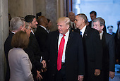 United States President-elect Donald Trump and US President Barack Obama are greeted by the Congressional leadership as they arrive for Trump's inauguration ceremony at the Capitol in Washington, Friday, Jan. 20, 2017. From left are US House Minority Leader Nancy Pelosi (Democrat of California), US House Majority Leader Kevin McCarthy (Democrat of California), US Senate Majority Leader Mitch McConnell (Republican of Kentucky), and Speaker of the US House Paul Ryan (Republican of Wisconsin).<br /> Credit: J. Scott Applewhite / Pool via CNP