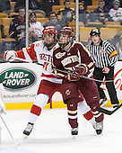 Garrett Noonan (BU - 13), Johnny Gaudreau (BC - 13) - The Boston College Eagles defeated the Boston University Terriers 3-1 (EN) in their opening round game of the 2014 Beanpot on Monday, February 3, 2014, at TD Garden in Boston, Massachusetts.