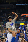 02 APR 2012:  Anthony Davis of the University of Kentucky celebrates during the 2012 NCAA Men's Division I Basketball Championship Final Four held at the Mercedes-Benz Superdome hosted by Tulane University in New Orleans, LA.  The University of Kentucky beat the University of Kansas 67-59. Joshua Duplechian/ NCAA Photos