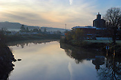 Downtown Napa and the Napa River at dawn. Napa, California, USA