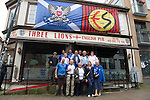 Rosenborg v St Johnstone....17.07.13  UEFA Europa League Qualifier.<br /> St Johnstone fans in Trondheim..Pictured fans outside the Three Lions Pub in Trondheim<br /> Picture by Graeme Hart.<br /> Copyright Perthshire Picture Agency<br /> Tel: 01738 623350  Mobile: 07990 594431
