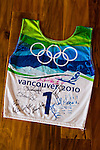 """Olympic skier Julia Mancuso at her home on the island of Maui, Hawaii.  Julia's ski bib from the Vancouver 2010 olympics, """"signed by a bunch of cool people."""""""