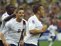 Danny Szetela celebrates his goal for the US as Robbie Rogers (8) joins in the celebration at Olympic Stadium, Montreal in the FIFA U-20 World Cup on June 30, 2007.  The match ended in a tie 1-1, before more than 50,000 spectators.