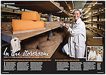Tearsheet from Great Food magazine showing photograph of Jo Clarke, co-owner of the Leicestershire Handmade Cheese Company taken as she checks maturing Sparkenhoe cheeses in their storeroom in Leicestershire