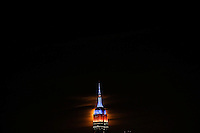 HOBOKEN, NJ - OCTOBER 16: A full Hunter's super moon rises behind the Empire State Building in New York City on October 16, 2016 as seen from Hoboken, NJ, VIEWPRESS/Eduardo Munoz Alvarez