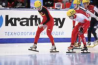 "SHORT TRACK: MOSCOW: Speed Skating Centre ""Krylatskoe"", 15-03-2015, ISU World Short Track Speed Skating Championships 2015, Quarterfinals 1000m Men, Dajing WU (#115   CHN), Samuel GIRARD (#109   CAN), ©photo Martin de Jong"