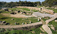 Low angle view of Roman Amphitheatre, Carthage, Tunisia, pictured on January 28, 2008, in the morning. Carthage was founded in 814 BC by the Phoenicians who fought three Punic Wars against the Romans over this immensely important Mediterranean harbour. The Romans finally conquered the city in 146 BC. Subsequently it was conquered by the Vandals and the Byzantine Empire. Today the site is a UNESCO World Heritage. The theatre, originally seating  with 50,000, dates back to the 2nd century and showed performances of Naumachia (re-enacted naval battle scenes). Picture by Manuel Cohen.