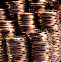 STACKS OF COPPER PENNIES