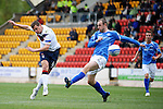 St Johnstone v Rangers....13.05.12   SPL.Lee McCulloch scores for Rangers despite the efforts of Dave Mackay.Picture by Graeme Hart..Copyright Perthshire Picture Agency.Tel: 01738 623350  Mobile: 07990 594431