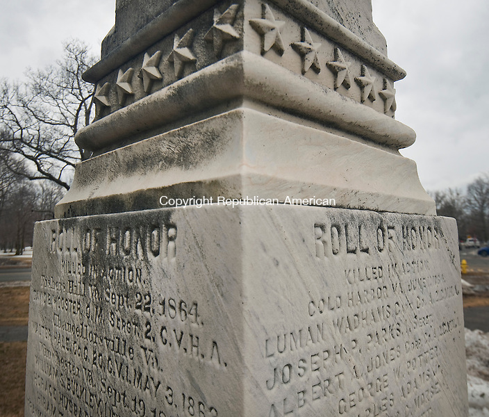 LITCHFIELD ,  CT,  CT-041115JS41- The monument on the Litchfield Green,  lists 57 soldiers killed and features marble carvings of soldiers seated, their heads bowed. The cavalryman on the left rests his head on his saber; the infantry officer on the right leans on his sword. The words, Pro Patria, mean &quot;for one's country.&quot;<br /> Jim Shannon Republican-American