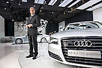 Rupert Stadler, CEO of AUDI photographed with the new Audi A8 at the Audi Pavillion in Miami Beach for Manger Magazine
