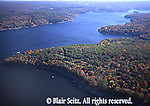 Promised Land State Park, PA, lake aerial, fall foliage