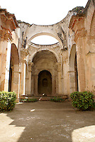 Ruins of the Spanish colonial Cathedral in Antigua, Guatemala. Antigua is a UNESCO World heritage site.
