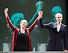 Oresteia<br /> by Aeschylus <br /> a new version created by Robert Icke<br /> at Almeida Theatre, London, Great Britain <br /> press photocall<br /> 4th June 2015 <br /> <br /> Lia Williams<br /> Angus Wright <br /> <br /> <br /> Photograph by Elliott Franks <br /> Image licensed to Elliott Franks Photography Services