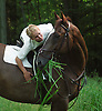 Julie Krone, with her horse Peter Rabbit, during the 1990s