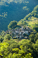 Corippo, Ticino, Switzerland, August 2009. The ancient mountain village of Corippo. The Valle Verzasca valley offers a spectacular rocky gorge with turquoise waters and a roman bridge. Ticino is the subtropical canton of switzerland where Italian is the first language. Photo by Frits Meyst/Adventure4ever.com