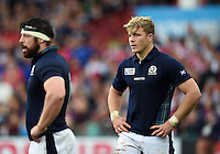 David Denton of Scotland looks on during a break in play. Rugby World Cup Pool B match between Scotland and Japan on September 23, 2015 at Kingsholm Stadium in Gloucester, England. Photo by: Patrick Khachfe / Onside Images