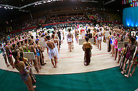 """Gymnasts from many countries lineup during opening ceremony at 2008 World Cup Kiev, """"Deriugina Cup"""" in Kiev, Ukraine on March 22, 2008."""