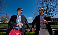 LEXINGTON, KENTUCKY - APRIL 08: Friends talk by the paddock before the races on Blue Grass Stakes Day at Keeneland Race Course on April 8, 2017 in Lexington, Kentucky. (Photo by Scott Serio/Eclipse Sportswire/Getty Images)