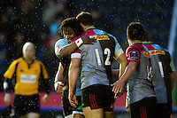 Jamie Roberts of Harlequins is congratulated on his try by team-mate Marland Yarde. European Rugby Challenge Cup semi final, between Harlequins and Grenoble on April 22, 2016 at the Twickenham Stoop in London, England. Photo by: Patrick Khachfe / JMP
