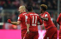 FUSSBALL  1. BUNDESLIGA  SAISON 2015/2016  24. SPIELTAG FC Bayern Muenchen - 1. FSV Mainz 05       02.03.2016 Arjen Robben (li) bejubelt mit Douglas Costa und David Alaba (v.l., alle FC Bayern Muenchen) seinen Treffer zum 1:1