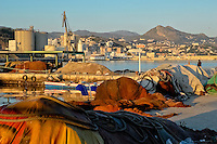 Fishnets and ropes covered by sheets in the port of Malaga, Spain, 28 February 2007.