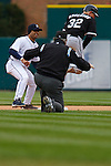 April 13, 2009:   #32 Brian Anderson of the Chicago White Sox is safe at second base in action during the MLB game between Texas Rangers and Detroit Tigers at Comerica Park, Detroit, Michigan. (Credit Image: © Rick Osentoski/Cal Sport Media)