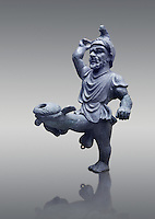 Erotic bronze oil lamp configured as a dancing midget, found in Pompeii,  Secret Museum or Secret Cabinet, Naples Archaeological Museum , grey background