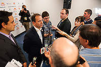 New York Red Bulls general manager Jerome de Bontin is interviewed by the media prior to a Major League Soccer (MLS) match against the Chicago Fire at Red Bull Arena in Harrison, NJ, on October 06, 2012.