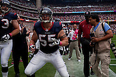 Houston, Texas<br /> October 2, 2011<br /> <br /> Players ready themselves on the sidelines as the game is about to begin. <br /> <br /> The Houston Texans defeated the Pittsburgh Steelers at the Reliant Stadium 17 to 10.