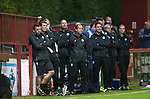 Brechin City v St Johnstone&hellip;26.07.16  Glebe Park, Brechin. Betfred Cup<br />Glum faces on the  for Callum Davidson, Tommy Wright and Alec Cleland on the St Johnstone bench<br />Picture by Graeme Hart.<br />Copyright Perthshire Picture Agency<br />Tel: 01738 623350  Mobile: 07990 594431