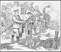 BNPS.co.uk (01202 558833)<br /> Pic: CardiffUniversity/BNPS<br /> <br /> 'Bravo, Territorials!' 6 November 1914, depicts the first time a Territorial fought alongside the professional army detachments.<br /> <br /> The wartime cartoons of one of Britain's most popular 20th century cartoonists', which inspired millions of people, have emerged.<br /> <br /> Joseph Morewood Staniforth produced more than 1,300 cartoons during the First World War for the News of the World and the Western Mail in Wales.<br /> <br /> His most memorable cartoons included a rousing call to arms following Lord Kitchener's plea for recruits, Winston Churchill dressed as a bargeman after the failed Dardenelles campaign and Kaiser Wilhelm II of Germany depicted as a beggar. <br /> <br /> In another cartoon he paid homage to William Shakespeare and he even created his own Welsh war hero, Dai Pepper, who captured a German dugout wearing a coal miner's 'curling box' instead of a helmet.<br /> <br /> Following his death in 1921, he was described by Prime Minister Lloyd George as 'one of the most distinguished cartoonists of his generation' whose patriotic cartoons had 'rendered a great national service'.