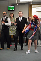 London, UK. 23.02.2015. A Lindy Hop dance class is held at Portcullis House, Westminster, hosted by DanceUK, with MPs as guests, to launch the Dance Manifesto.  Strictly's Jenny Thomas and Robin Windsor teach the class, whilst Bic Graham, from The Lindy Club,  DJs. Picture shows: Dancers and Chris Heaton-Harris (MP and chair of the Board of Trustees for Royal and Derngate Theatre), learning some basic steps. Photograph © Jane Hobson.
