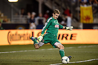 Philadelphia Union goalkeeper Zac MacMath (18). The Philadelphia Union and the Portland Timbers played to a 0-0 tie during a Major League Soccer (MLS) match at PPL Park in Chester, PA, on July 20, 2013.