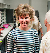 """Leaving the hairdressing salon.  Special Olympics Surrey put on a show,   """"Beyond the Stars"""", at the Rose Theatre, Kingston upon Thames to raise money for the  SOGB team.  The Special Olympics are for athletes with learning disabilities."""