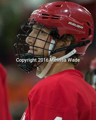 Alex Rauter (Cornell - 4) - The Harvard University Crimson defeated the visiting Cornell University Big Red on Saturday, November 5, 2016, at the Bright-Landry Hockey Center in Boston, Massachusetts.
