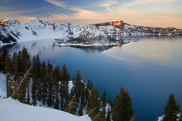 Crater Lake National Park in winter, Oregon, USA.